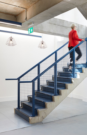 blue feature staircase leading up from lower ground level of Printworks House