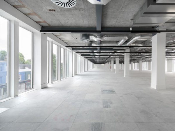 outstanding natural light with floor to ceiling windows in leasehold office space in Kennington