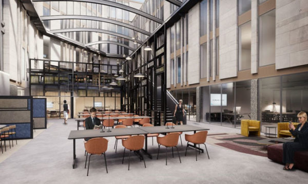 spectacular covered courtyard incorporating a reception and a large manned reception and café, beams and glass overhead