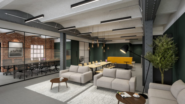 refurbished warehouse leasehold office space with meeting room, glass divisions and lounge area with contemporary lighting