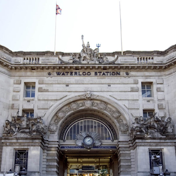views of the grand front entrance and station concourse of Waterloo Rail and Underground Station