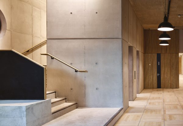 design of stone steps and wood effect reflect the industrial past in bankside's history